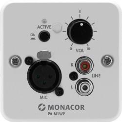 Väggmodul med mikrofoningång, aux och volymkontroll - Monacor PA-M1WP