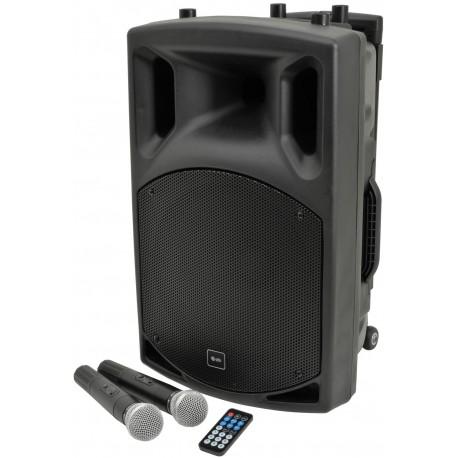 Portabel högtalare med 2 trådlösa mikrofoner, batteridrift och bluetooth - QTX QX15PA